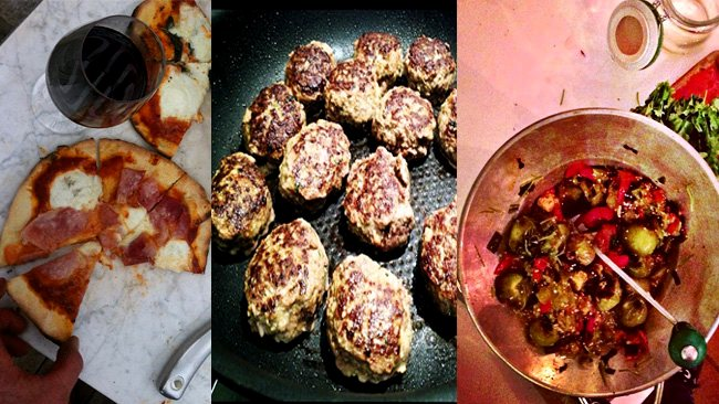 What the chefs eat: (l-r) Karen Martini's pizza dinner, homemade meatballs by Pete Evans and Jamie Oliver's mexican salsa. Pictures: Twitter