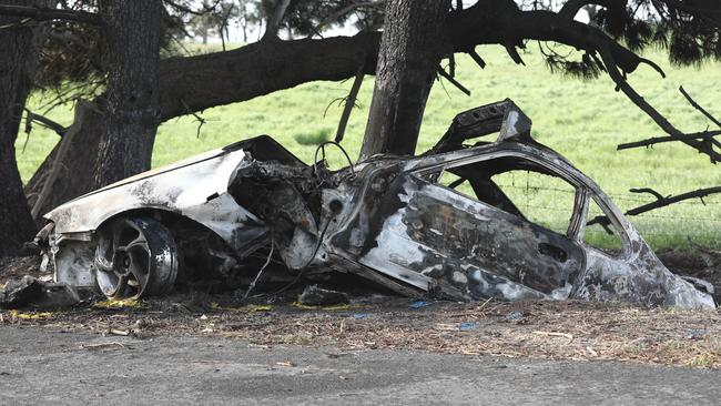 The remains of the car following the fatal crash. Picture: Mike Burton/AAP