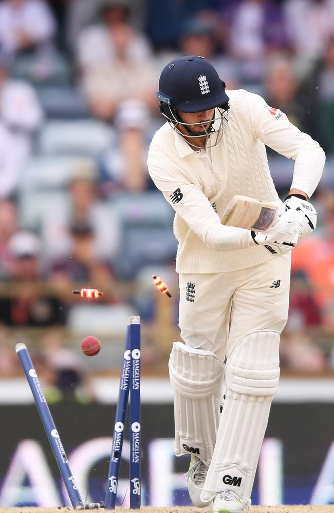 James Vince's stumps are left shattered by Mitchell Starc's stunning delivery.
