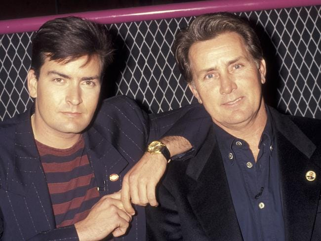 Hollywood royalty ... Charlie Sheen with his father Martin Sheen in 1991. Picture: Getty