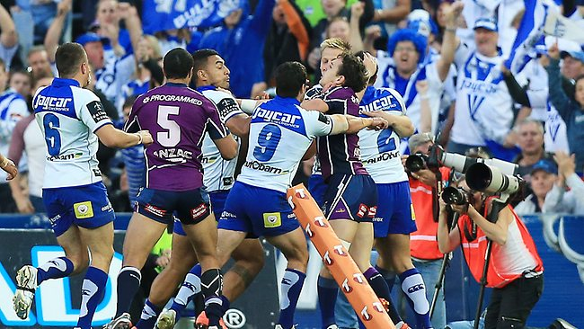 Brawl after Sam Perrett try for the Bulldogs. Picture: Mark Evans
