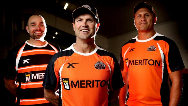 Wests Tigers head coach Mick Potter with his assistant coaches David Kidwell and Todd Payten.