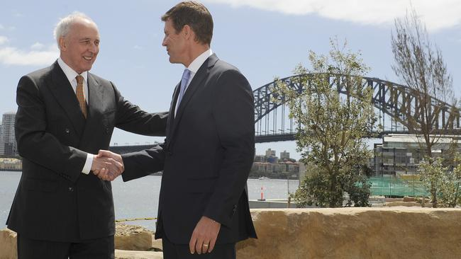 Former Prime Minister of Australia Paul Keating and NSW Premier Mike Baird at Barangaroo, rapidly becoming an exclusive enclave for foreign investors. Picture: Craig Wilson