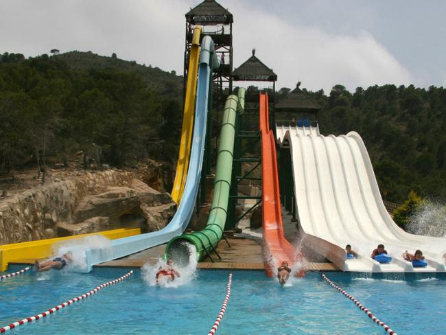 The Vertigo waterslide where people drop 33m down a steep slide into the water.