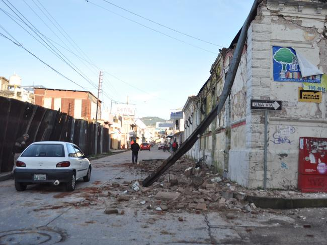 Shaken ... Picture taken in San Marcos, 240km of Guatemala City, showing earthquake damage. Picture: AFP