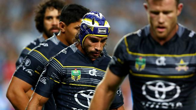 Johnathan Thurston and the Cowboys couldn't get anything going against the Sharks. Picture: Gregg Porteous
