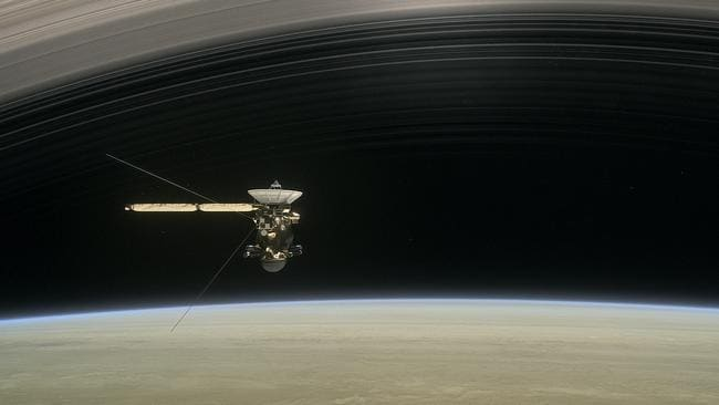 The spacecraft diving between Saturn and the planet's innermost ring. Picture: NASA/JPL-Caltech via AP