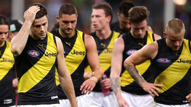 Trent Cotchin leads the Tigers off the ground after another loss. Picture: Getty Images