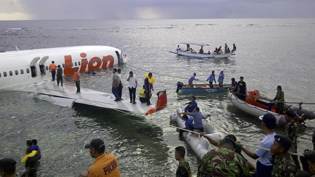 The crash site of a Lion Air plane in Bali. Picture: AP