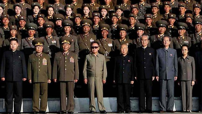 Kim Jong Un (far left) and his auntie, Kim Kyong Hui (far right) pictured with other leaders - inclouding Kim's father Kim Jong Il (centre in sunglasses) in 2010. AP Photo/Korean Central News Agency via Korea News Service