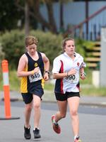 Max Watson of New Town High School with Ellie Foster of MacKillop Catholic College in the Grade 7 Individual Event. Triathlon Schools Challenge 2016 at Bellerive. Picture: NIKKI DAVIS-JONES