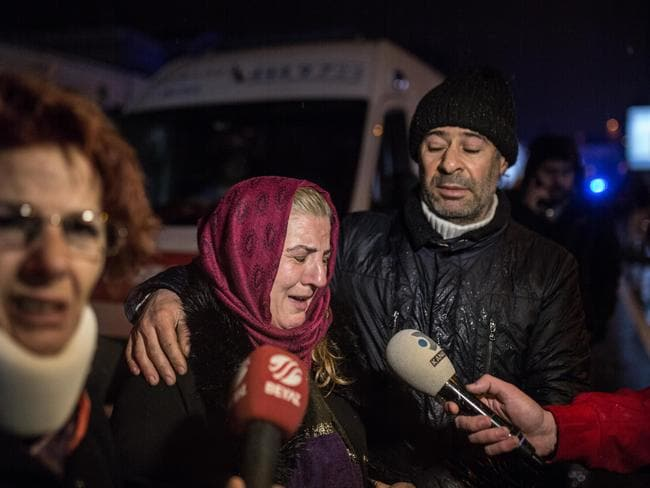 Relatives of the victims gathered near the nightclub Reina. Picture: Stringer/Getty Images