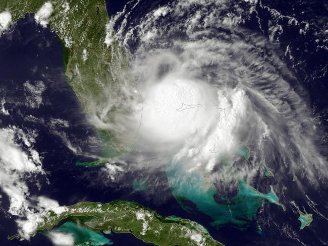 The centre of Hurricane Arthur ... The first named storm of the Atlantic hurricane season formed July 1 off the coast of Florida. Picture: NOAA