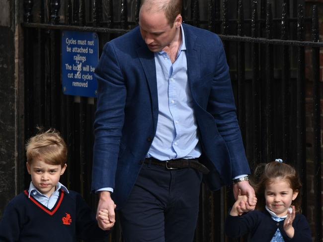 Prince William takes Prince George and Princess Charlotte to meet their new sibling. Picture: Phil Loftus/Capital Pictures/MEGA