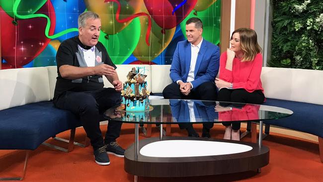 Glenn Wheeler returns to TV to celebrate his 57th birthday with Kylie Gillies and Ryan Phelan