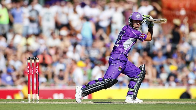 Ricky Ponting gets a shot away for the Hobart Hurricanes against the Sydney Thunder at Blundstone Arena. Picture: Nikki Davis-jones