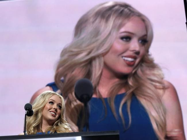 Tiffany Trump, daughter of Republican Presidential candidate Donald Trump, speaks during the second day session of the Republican National Convention in Cleveland.