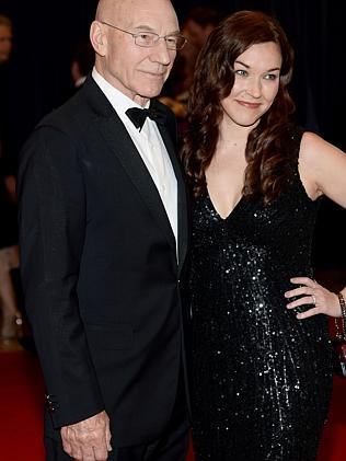 Professor Charlex Xavier (or Patrick Stewart) and Sunny Ozell. (Photo by Dimitrios Kambouris/Getty Images)