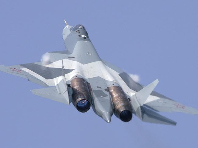T-50: This new Russian 'stealth' fighter can fly faster, further and higher than the F-35 with a much greater load of anti-aircraft weapons. Source: Supplied