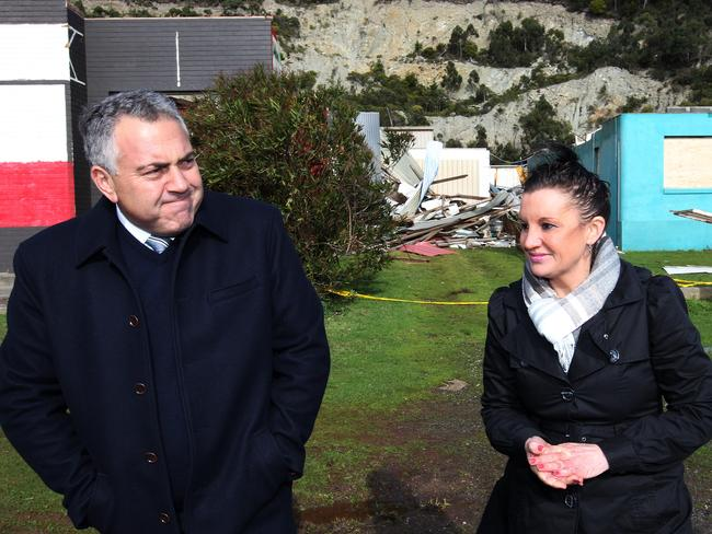 Hard to please: Federal Treasurer Joe Hockey with Senator Jacqui Lambie.