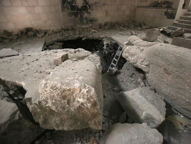 A general view shows the damage inside the destroyed museum. Picture: Ahmad Al-Rubaye