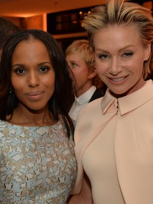 Portia de Rossi, pictured with Kerry Washington, asked to be written out of Scandal. Picture: Supplied