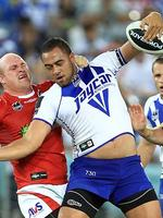 Get off- Bulldog Sam Kasiano tries to ward off Michael Weyman during a game at ANZ Stadium.. Picture: Mark Evans