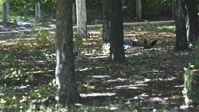Horrific ... a man lies dead in a park in Donetsk after the area came under attack. Picture: Ella Pellegrini