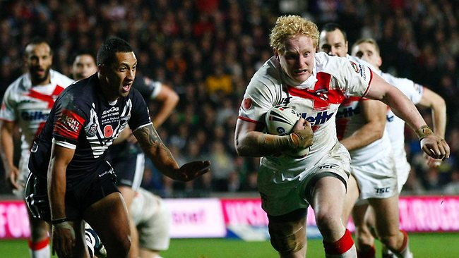 James Graham runs away from Benji Marshall during an England v New Zealand Four Nations Test match. Graham has been dropped for England's Rugby League World Cup opener against Australia.