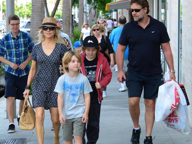 The couple with their sons Tennyson and Charlie in Beverly Hills. Picture: Splash News.