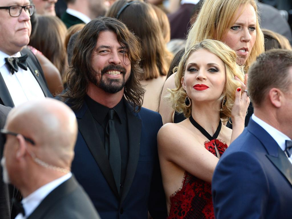 Dave Grohl and Jordyn Blum attend the 88th Annual Academy Awards on February 28, 2016 in Hollywood, California. Picture: AP