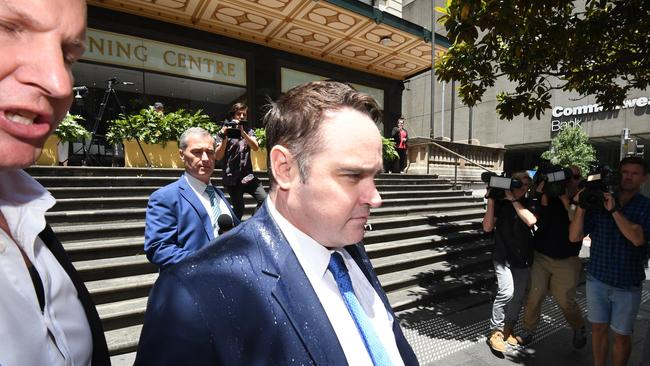 Former Nine Journalist Ben McCormack leaves the Downing Centre Court, Sydney, Wednesday, December 6, 2017. Picture: AAP /Peter Rae.
