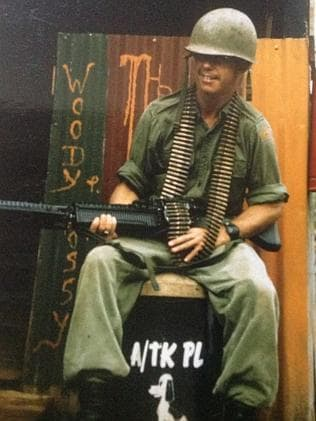 Private Richard Barry with an M-60 machine gun in South Vietnam, 1969.