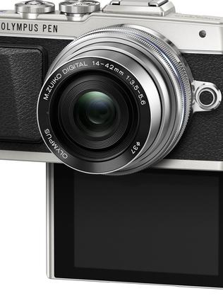 Drop down to smile ... the flip-down screen on the Olympus Pen E-PL7 is designed to give you the perfect eye line in a selfie.