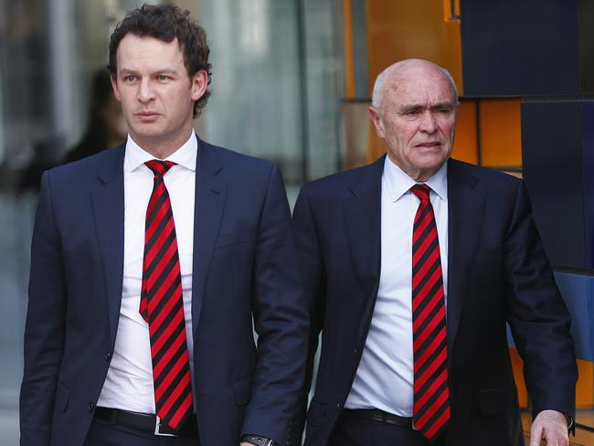Essendon CEO Xavier Campbell and president Paul Little leave the Federal Court. Picture: Michael Klein