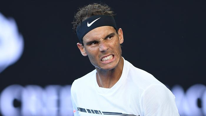 Rafael Nadal of Spain reacts during the Mens Singles match against Alexander Zverev of Germany in round three on day six at the Australian Open, in Melbourne, Australia, Saturday, Jan. 21, 2017. (AAP Image/Julian Smith) NO ARCHIVING, EDITORIAL USE ONLY