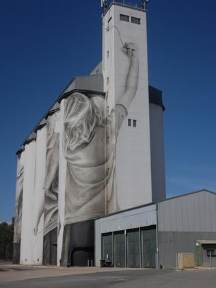 Finished ... SA's largest art canvas, the Coonalpyn silo mural. Picture: Guido van Helten