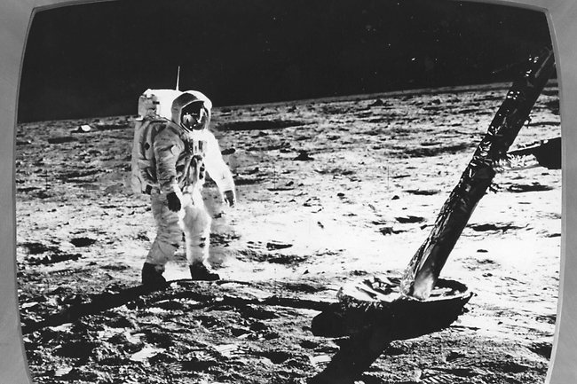 Astronaut Neil Armstrong walks on the moon during the Apollo 11 moon mission in 1969.
