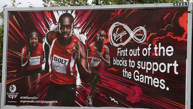 Usain Bolt is all over billboards in Glasgow. Picture: Adam Head