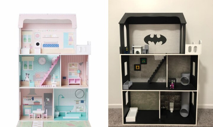 Mum hacks Kmart dollhouse into epic Batcave