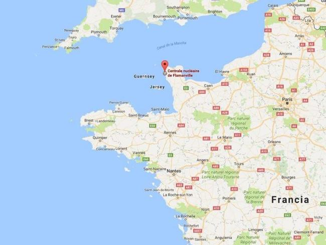 The plant is located at Flamanville, Manche on the Cotentin Peninsula. Picture: Google