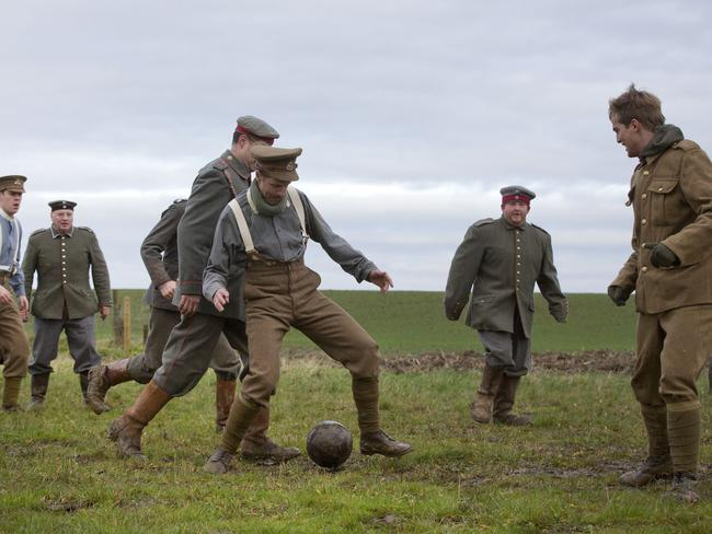 Actors re-enactment the soccer match during the Christmas Day truce, an event historians now say most likely didn't happen. Picture: AP/Virginia Mayo