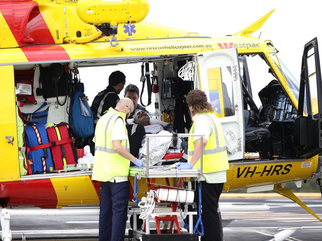 Colin Rowland is flown from Forster to John Hunter Hospital. Picture: Peter Lorimer
