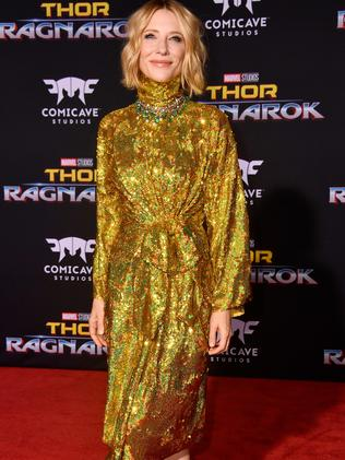 Blanchett dazzled in a golden frock. Picture: Frazer Harrison/Getty Images