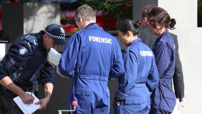 Police on the scene of last nights siege incident in Brighton. Forensics at the scene. Picture: Alex Coppel.