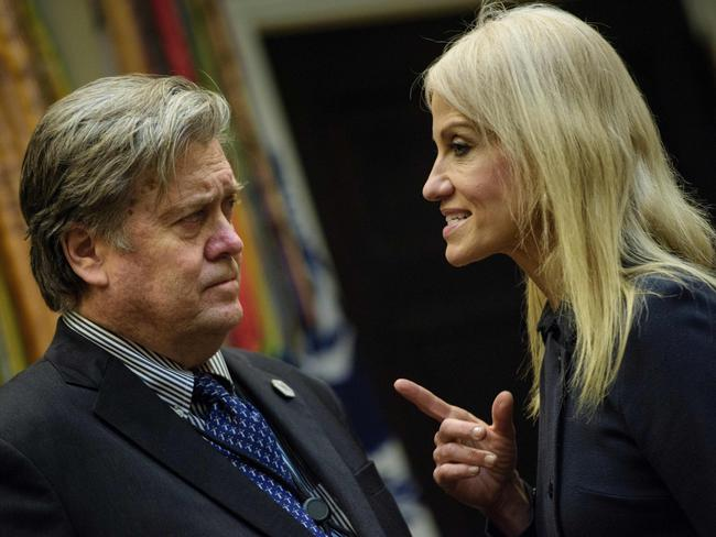 Trump adviser Steve Bannon and counsellor to the president Kellyanne Conway talk before a meeting in Washington, DC. Picture: AFP/Brendan Smialowski