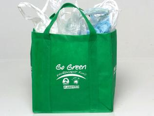 FEATURES DT STYLE....2/6/04....Coles Go Green Bag, full of plastic bages...Pic Jim Trifyllis....