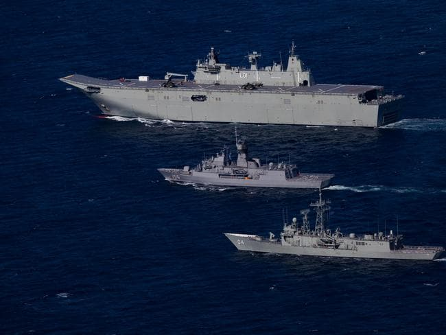Royal Australian Navy ships HMAS Adelaide, Toowoomba and Darwin in formation as part of the Joint Task Group for Indo-Pacific Endeavour 2017. Picture: Defence
