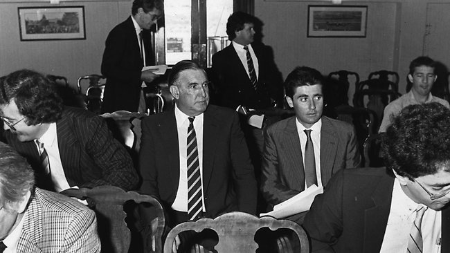 "Robbie Waterhouse with his father Bill during the fallout from the ""Fine Cotton Affair"" in 1984. Picture: Ian Mainsbridge."