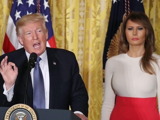 First lady Melania Trump stands alongside her husband, US President Donald Trump. Picture: Mark Wilson/Getty Images/AFP